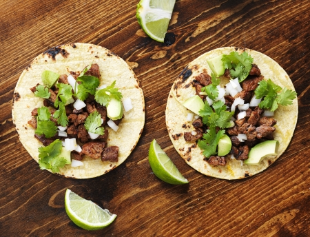 steaks: overhead view of two authentic street tacos Stock Photo