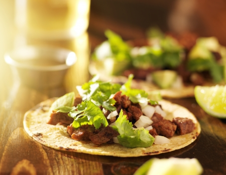 street food: authentic mexican tacos with beef