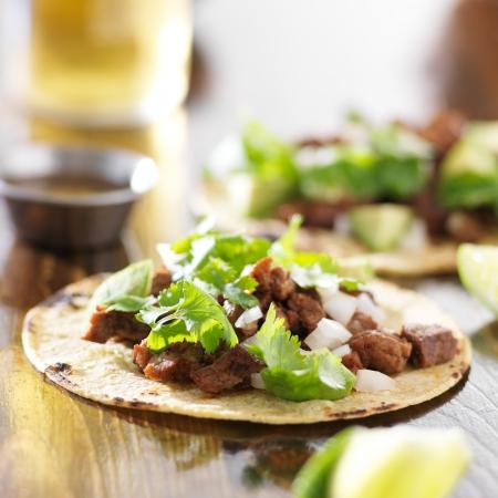 corn tortilla: mexican tacos with beef and corn tortilla