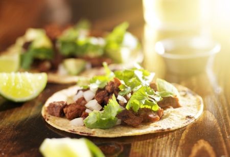 street food: mexican tacos with beef and corn tortilla
