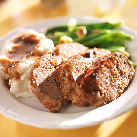 meatloaf: meatloaf with greenbeans and mashed potatoes