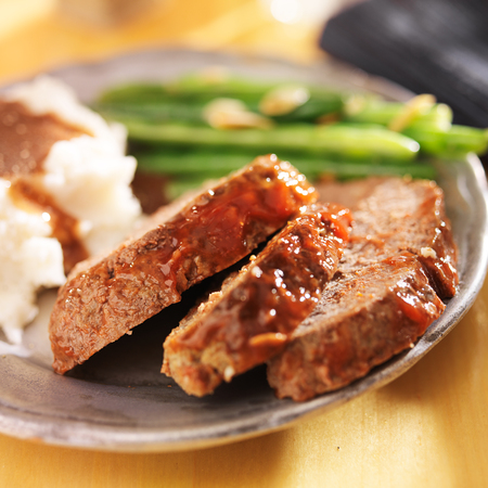 meatloaf with greenbeans and mashed potatoes photo
