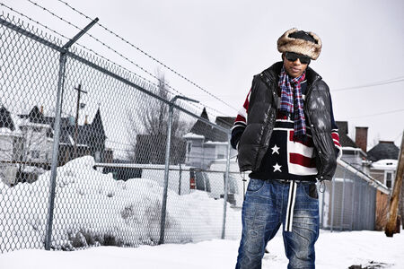funky african man in american flag themed winter clothing photo