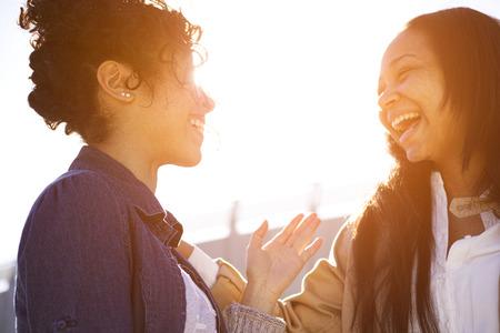 talking: two sisters having fun around town