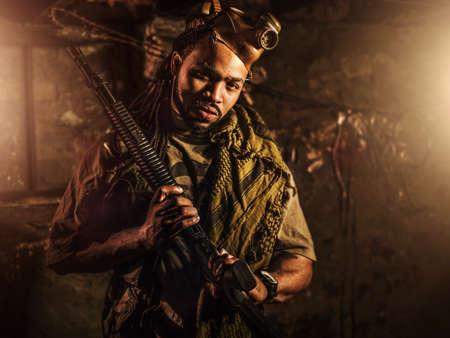 guerrilla: guerrilla freedom fighter with gun in bunker