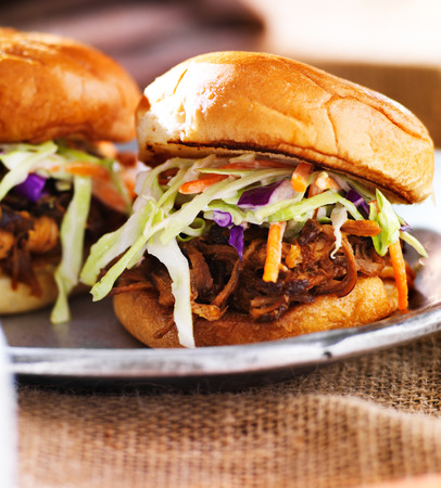 two barbecue pulled pork slider sandwiches photo