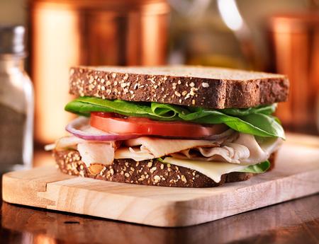 トルコとデリ肉サンドイッチ 写真素材