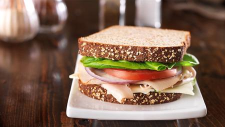 Deli: deli meat sandwich, shot at a wide aspect ratio