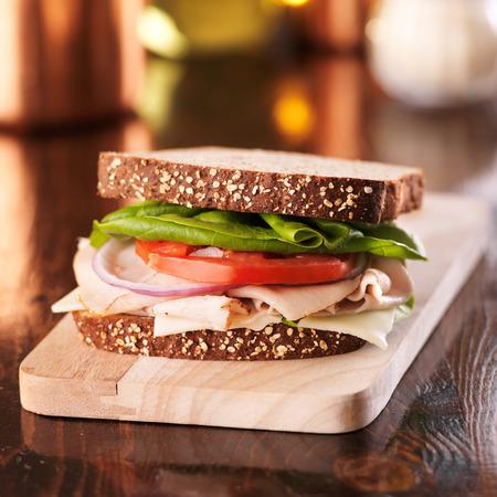 cold cut turkey deli meat sandwich Stock Photo