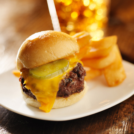 burger slider with french fries and drink photo