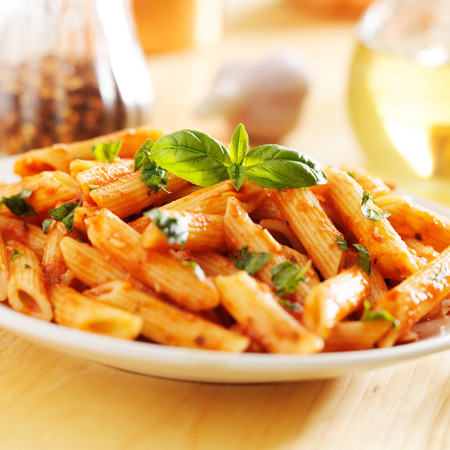 smothered: tomato sauce smothered italian penne pasta
