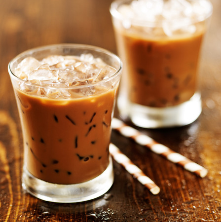 two glasses of iced coffee shot with selective foc us Archivio Fotografico