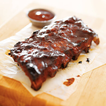 bbq ribs: bbq ribs shot with selective focus