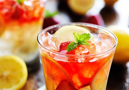 strawberry lemonade shot close up