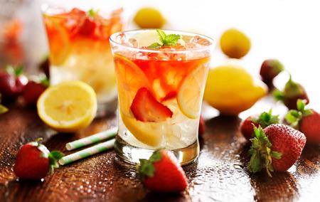 lemon juice: panorama photo of strawberry lemonade