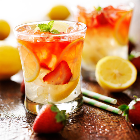 strawberry lemonade with mint garnish photo