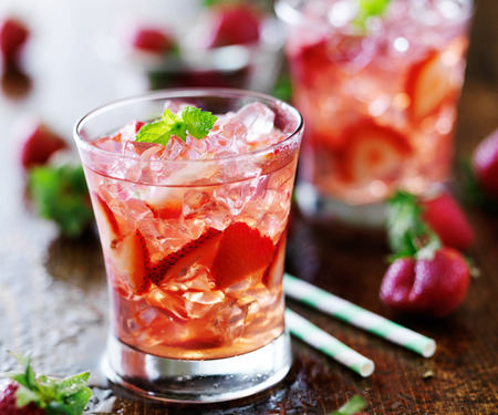 strawberry: strawberry cocktail with mint