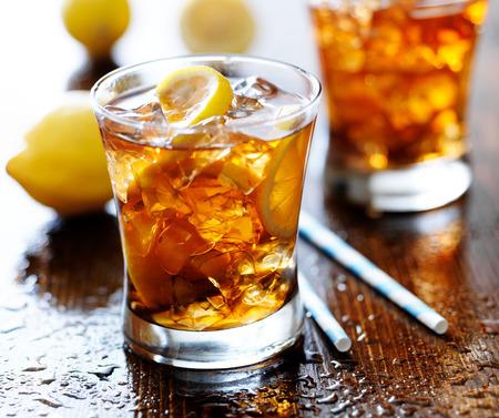 ice lemon tea: sweet tea with lemon and ice Stock Photo