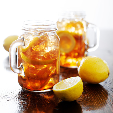 southern sweet tea in a rustic jar photo