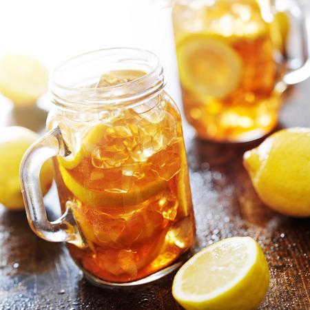southern sweet tea in a rustic jar photo