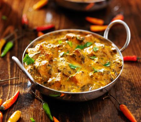 インド料理・ サーグ パニール カレー皿 写真素材