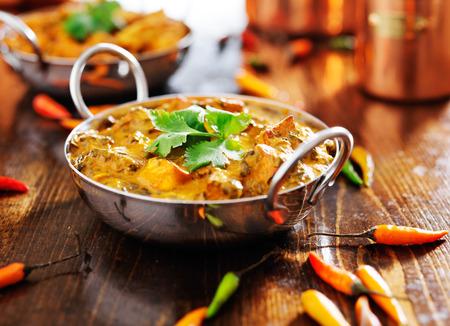 インドの料理 - サーグパニール カレー皿 写真素材