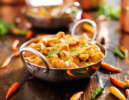indian chicken curry in balti dish Stok Fotoğraf