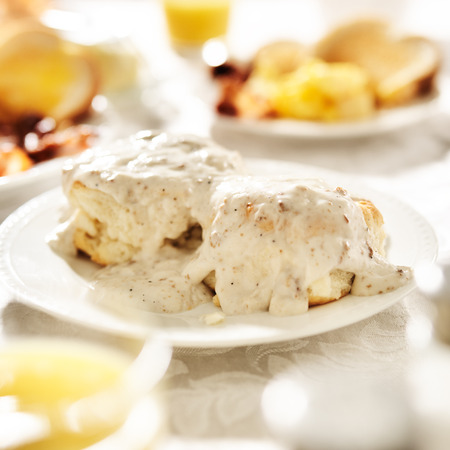 biscuit: biscuits with sausage gravy Stock Photo
