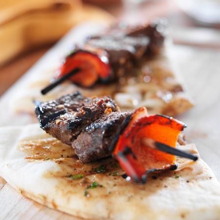 kabab: sirloin steak mini kabobs with pita bread
