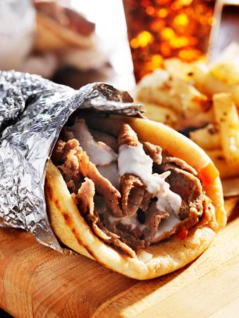 pita: gyro with tzatziki sauce