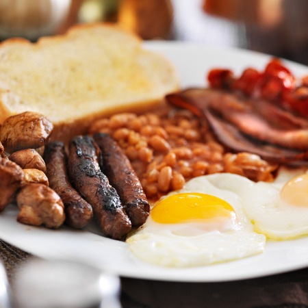 square composition: full english breakfast in square composition Stock Photo