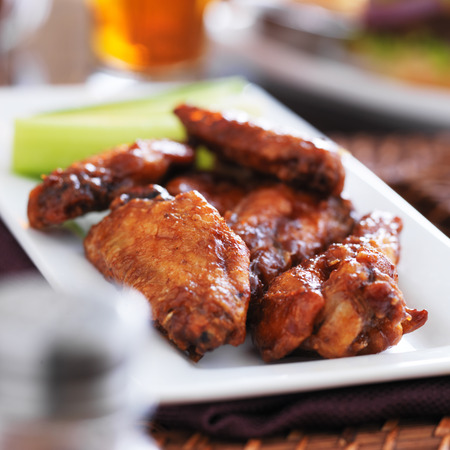 plate of bbq chicken wings Stock Photo
