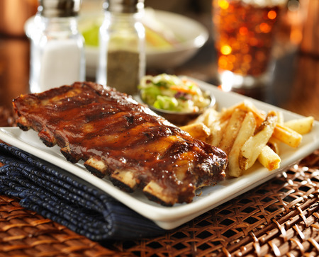 barbecue rib meal with cole slaw and french fries Stok Fotoğraf