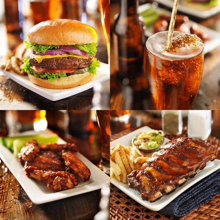 alitas de pollo: collage de comida a la parrilla y asado a la parilla