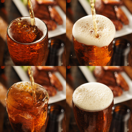 collage of different beer splashes with chicken in background Imagens