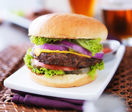 burger with fries and beer photo
