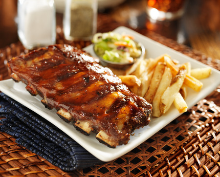 cookout: bbq ribs with cole slaw and french fries