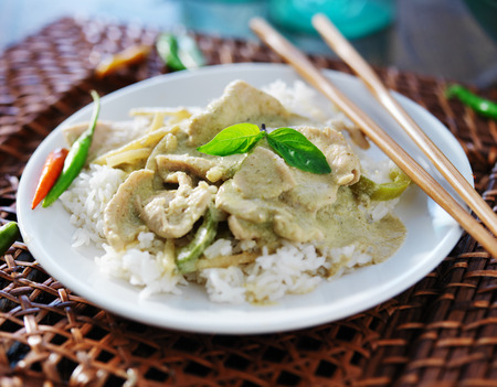 jasmine rice: thai green curry with chicken on jasmine rice close up