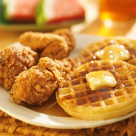 fried chicken: fried chicken and waffles with watermelon & sweet tea