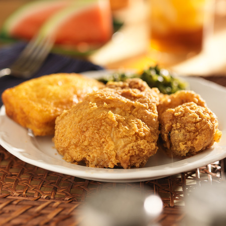 fried chicken with collard greens and corn bread photo
