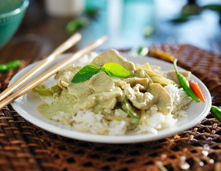 curry chicken: thai green curry with chicken on jasmine rice
