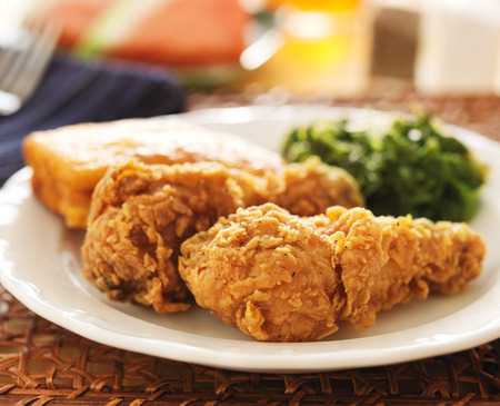 soul food: fried chicken with collard greens and corn bread