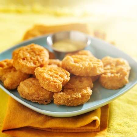 nuggets: chicken nuggets with honey mustard sauce