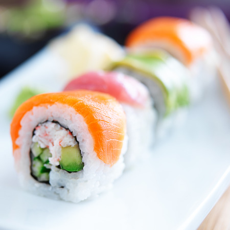 light meal: japanese sushi with stuna, salmon, avocado and shrimp
