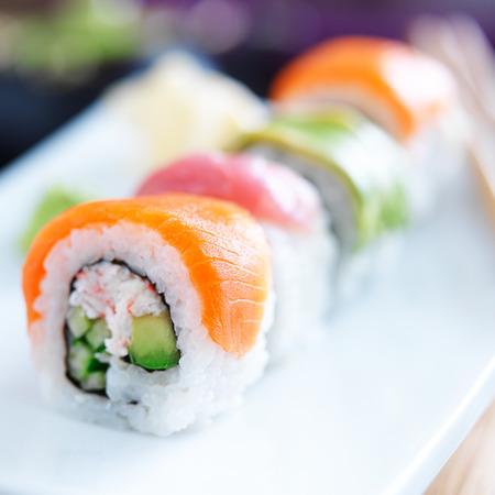 japanese sushi with stuna, salmon, avocado and shrimp photo