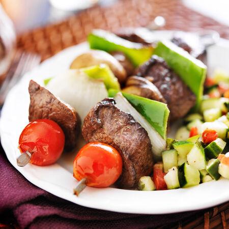 shishkabab: steak and vegetable shishkabobs with cucumber salad
