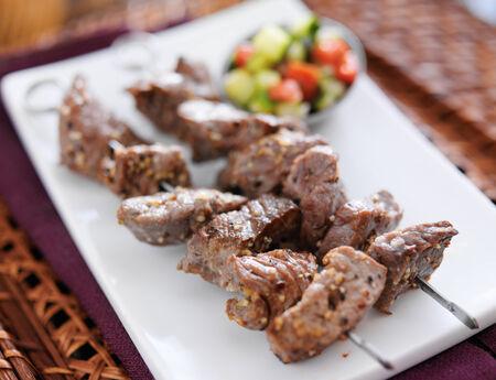 shishkabab: grilled garlic herb beef shishkabab skewers Stock Photo