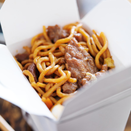 take out: beef lo mein in take out box