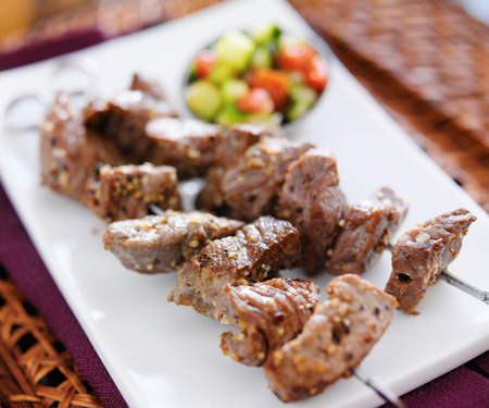 kebob: grilled garlic herb beef shishkabob skewers