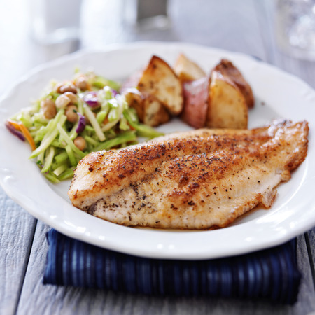 pan fried tilapia with asian slaw and roasted potatoes Stock Photo